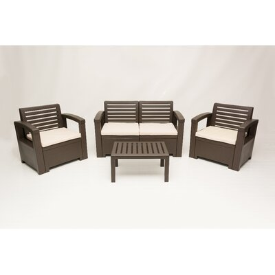 Elise 4 Piece Seating Group Finish: Brown