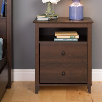 Ellen Tall Espresso 2 Drawer Nightstand