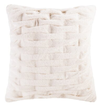 Kanesha Ruched Faux Fur Throw Pillow Color: Ivory