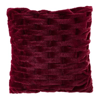 Kanesha Ruched Faux Fur Throw Pillow Color: Red