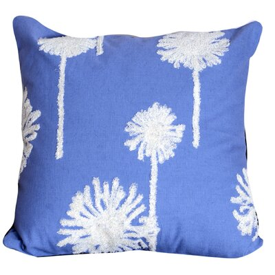 Genevieve Embroidered Cotton Throw Pillow Color: Blue