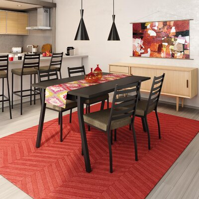 Lizzie 5 Piece Dining Set Finish: Textured Dark Brown / Medium Brown