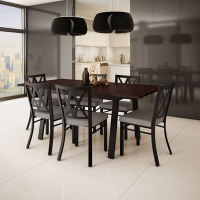 Micheal 7 Piece Dining Set Finish: Textured Dark Brown / Warm Gray