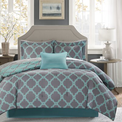 Winard Reversible Complete Comforter Set  Size: King, Color: Aqua/Grey