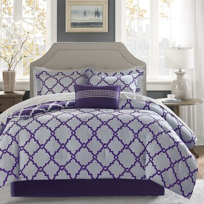 Winard Comforter Set Size: Twin, Color: Purple/Grey