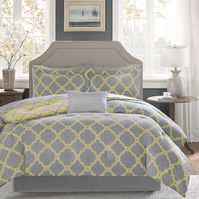 Winard Reversible Complete Comforter Set  Size: Queen, Color: Grey/Yellow