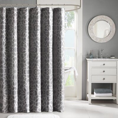 Kane Jacquard Shower Curtain Color: Gray