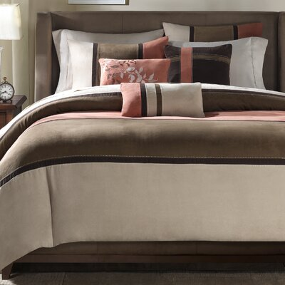 Nicolette 6 Piece Duvet Cover Set Size: King/California King, Color: Coral