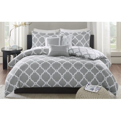 Winard 6 Piece Reversible Duvet Cover Set Size: Full/Queen, Color: Gray