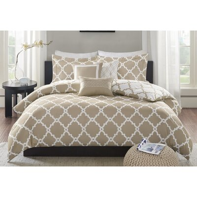 Winard 6 Piece Reversible Duvet Cover Set Size: Full/Queen, Color: Taupe