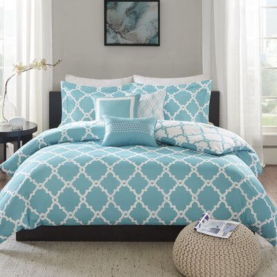 Winard 6 Piece Reversible Duvet Cover Set Size: Full/Queen, Color: Aqua