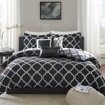 Winard 6 Piece Reversible Duvet Cover Set Size: Full/Queen, Color: Black