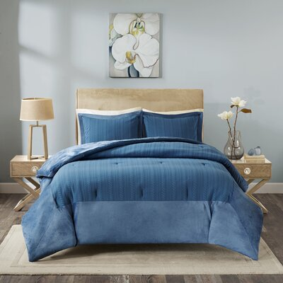Ivy Matelasse Mini Comforter Set Size: Twin, Color: Blue