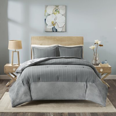 Ivy Matelasse Mini Comforter Set Size: Twin, Color: Gray