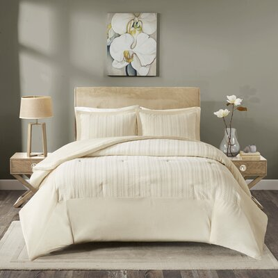 Ivy Matelasse Mini Comforter Set Size: Twin, Color: Ivory