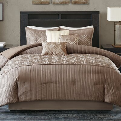 Jason 7 Piece Comforter Set Size: King, Color: Taupe