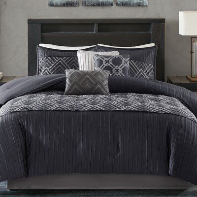 Jason 7 Piece Comforter Set Size: King, Color: Blue