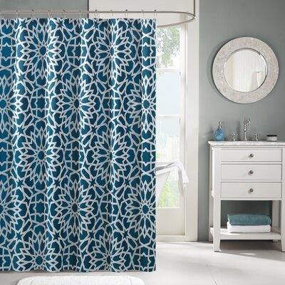 Kane Jacquard Shower Curtain Color: Teal