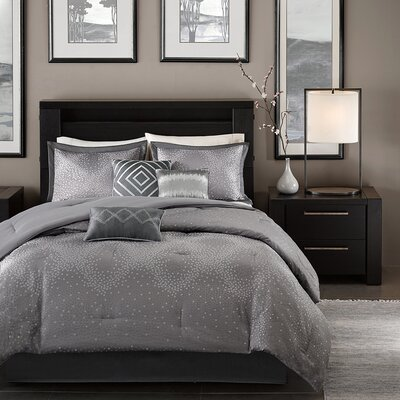 Jesse 7 Piece Comforter Set Size: King, Color: Grey