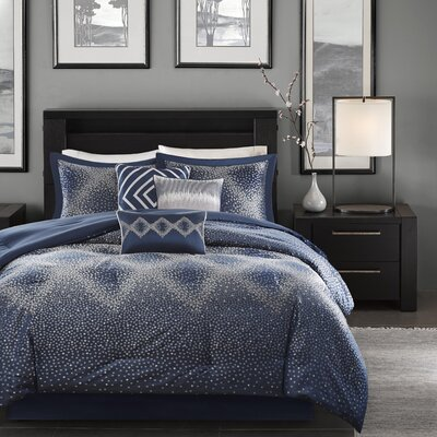 Jesse 7 Piece Comforter Set Size: King, Color: Navy