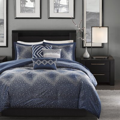 Jesse 6 Piece Duvet Cover Set Color: Navy, Size: King / California King