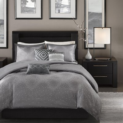 Jesse 6 Piece Duvet Cover Set Size: King / California King, Color: Grey