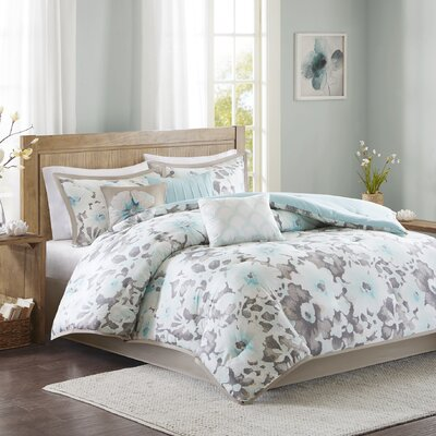 Delia 7 Piece Comforter Set Size: King, Color: Aqua