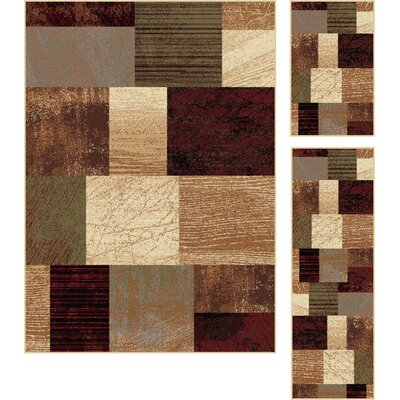 Colette 3 Piece Brown Area Rug Set Rug Size: 5 x 7