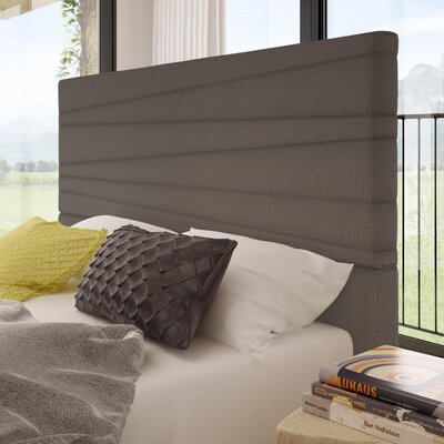 Rafael Upholstered Panel Headboard Color: Warm Medium Gray, Size: Queen