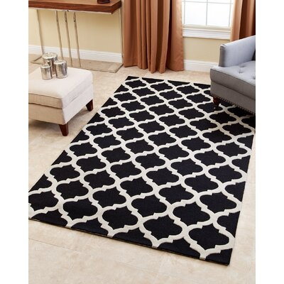 Raul Hand-Tufted Black Area Rug Rug Size: 5 x 8