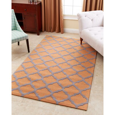 Raul Hand-Tufted Orange Area Rug Rug Size: 5 x 8