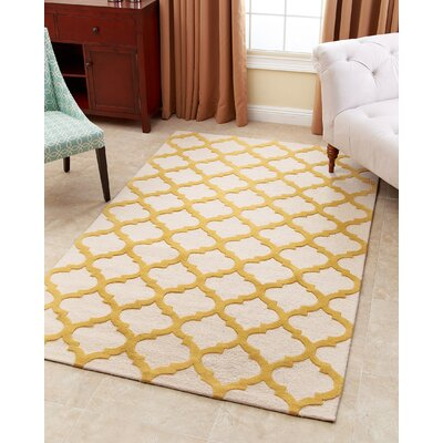 Raul Hand-Tufted Yellow Area Rug Rug Size: 5 x 8