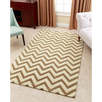 Ramon Hand-Tufted Gold Area Rug Rug Size: 5 x 8
