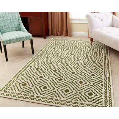 Karl Hand-Tufted Forest Green Area Rug Rug Size: 5 x 8