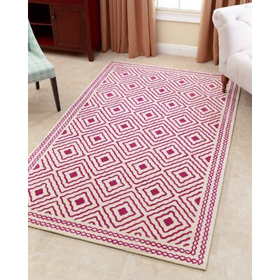 Karl Hand-Tufted Magenta Area Rug Rug Size: 5 x 8