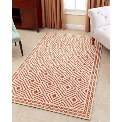 Karl Hand-Tufted Burnt Orange Area Rug Rug Size: 3 x 5