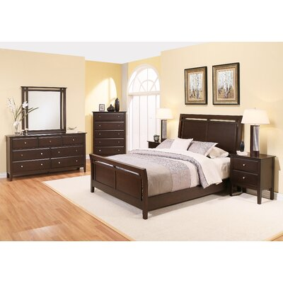 Kaitlin Sleigh 6 Piece Bedroom Set Size: King