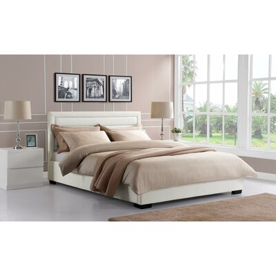 Katharine Upholstered Panel Bed Size: Full, Upholstery Color: White