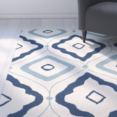Pick City Ivory/Navy Indoor/Outdoor Area Rug Rug Size: Runner 23 x 8