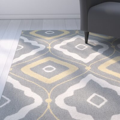 Salome Gray/Ivory Indoor/Outdoor Area Rug Rug Size: 36 x 56