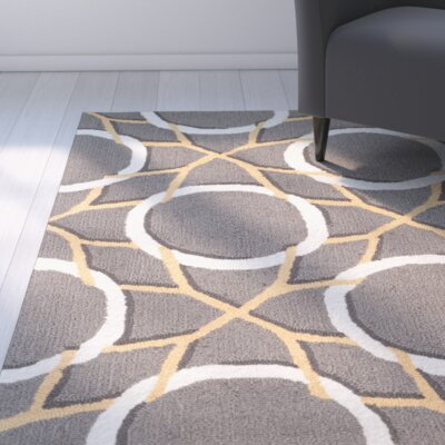 Finley Gray/Ivory Indoor/Outdoor Area Rug Rug Size: 36 x 56