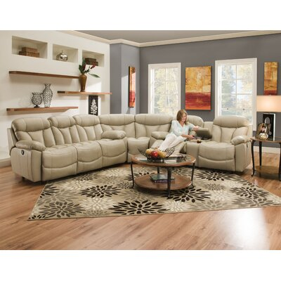 Brook Leather Reversible Reclining Sectional