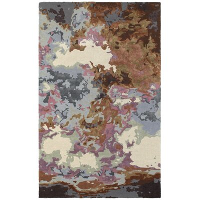 Wora Hand-Crafted Blue/Brown Area Rug Rug Size: 36 x 56