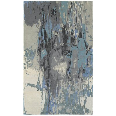 Wora Hand-Crafted Blue/Gray Area Rug Rug Size: 36 x 56