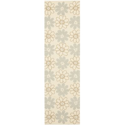 Grayson Ivory/Light Blue Outdoor Area Rug Rug Size: Runner 2'3