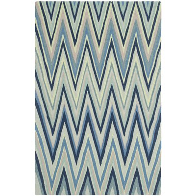 Grayson Navy/Green Chevron Area Rug Rug Size: 36 x 56