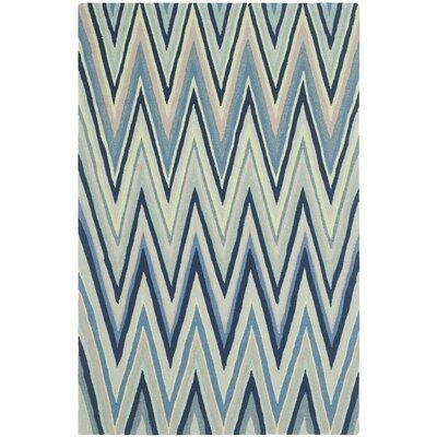 Grayson Navy/Green Chevron Area Rug Rug Size: 8 x 10