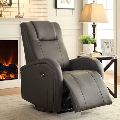 Lance Swivel Power Glider Recliner Upholstery: Charcoal Grey