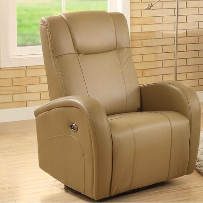 Lance Swivel Power Glider Recliner Upholstery: Sand