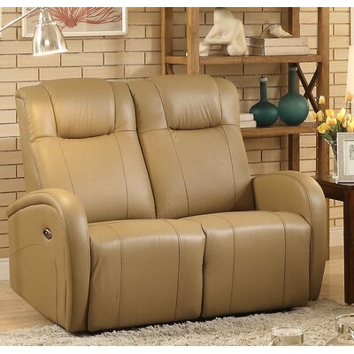 Lance Power Leather Reclining Loveseat Upholstery: Sand